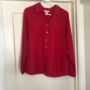 Tommy Bahama 100%silk blouse, szM, red